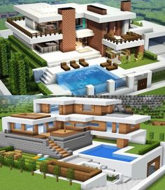 Minecraft Modern Mansion, Minecraft House Plans, Cute Minecraft Houses, Minecraft House Tutorials, Minecraft Houses Blueprints, Minecraft House Designs, Minecraft Crafts, Minecraft Things To Build, Minecraft Cake