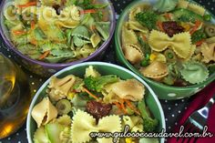 Aí em casa não amam verduras? Prepare um prato bem colorido com Salada de Legumes com Farfalle e dê-lhe para provar! Ninguém vai fazer careta!  #Receita aqui: http://www.gulosoesaudavel.com.br/2012/10/08/salada-legumes-farfalle/