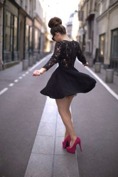 lace black long sleeve skater dress