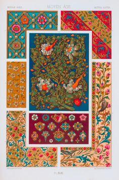 Moyen âge : XVe siècle : enluminures de manuscrits : fleurs et bijoux.
