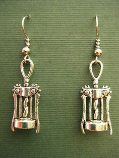 "$2.50 ANTIQUED SILVER DANGLE EARRINGS ""WINE BOTTLE OPENER"" HYPO ALLERGENIC EARWIRES 