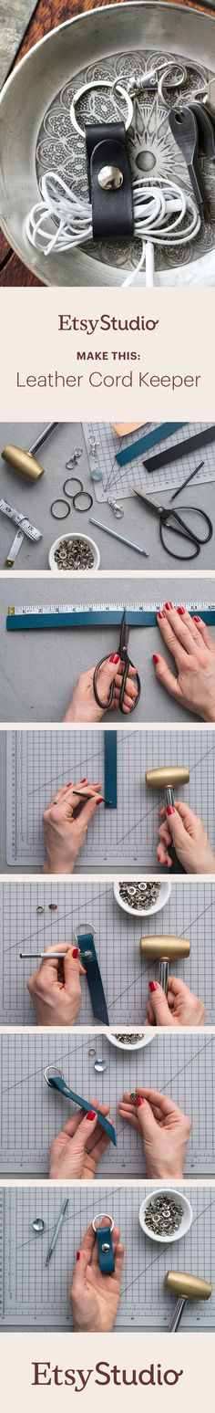 Keep cords tangle-free and within easy reach. Make your own leather cord keeper.