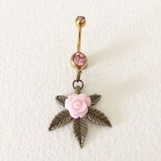 belly button ring PINK rose MarijuanaBelly by SmokiesTokeCouture