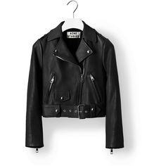 ACNE Mape Petite Jacket (£465) ❤ liked on Polyvore featuring outerwear, jackets, coats, tops, casaco, motorcycle jacket, black moto jacket, leather motorcycle jacket, genuine leather jacket and petite leather jacket