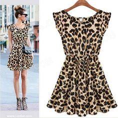 #Jm9018 stylish leopard pattern dress black  ad Euro 7.72 in #Womens clothesshoes #Apparelaccessories