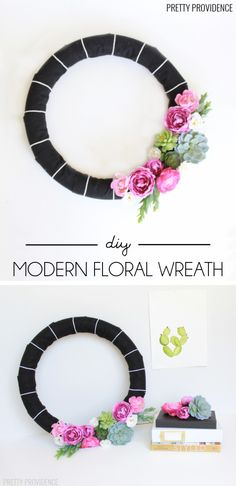 LOVE this modern wreath - the clean lines, stripes and florals. So easy to make too!