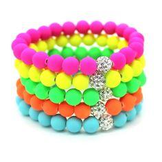 8mm Candy colors Silicone Beads Bracelet for Men Women Trendy DIY Fluorescent Neon Strand Bandage Charm Bracelets Bangles.