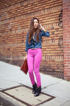 I need hot pink jeans