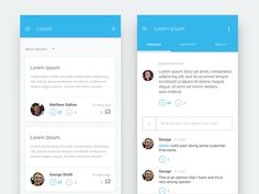 Mobile versions of a web app that I worked on. All Lorem Ipsumed out.