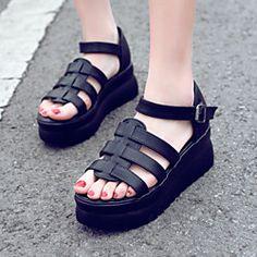 Women's Shoes Wedge Heel Wedges/Slingback Sandals Dress/Casual Black/White | LightInTheBox