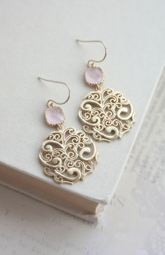 Gold Paisley Filigree Chandelier with Blush Ice Pink
