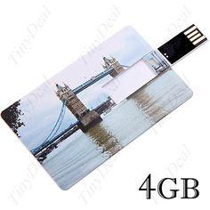 Кредитная карта стиль USB 2.0 флэш U диск 4GB память- Тауэрский мост шаблон CUD-12184