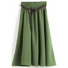 LUCLUC Green Long Sash Ruffle Belted Elegant Flow Skirt ($20) ❤ liked on Polyvore featuring skirts, bottoms, long frilly skirts, long skirts, long flounce skirt, ruffle skirt and long ruffle skirt