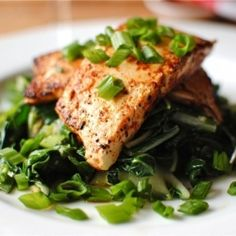 Spicy Tofu Steaks over Bok Choy.