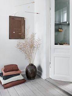 porte ancienne et parquet blanchi