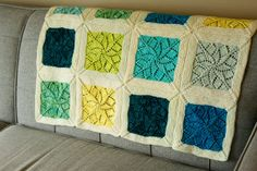 vivid rainbow lace blanket - knit afghan pattern - by Emily Wessel / Alexa Ludeman