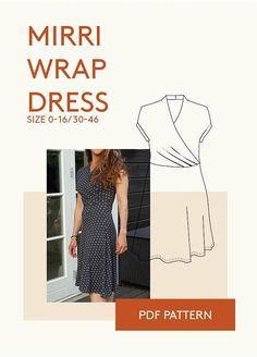 9d1f25ee85a5b4 jersey wrap dress kimono PDF sewing pattern The Mirri dress is a body  hugging faux wrap