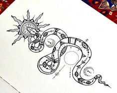 "(from Cosmic Daisy Art) ==> ""Excited to share this item from my shop: Snake illustration Original Wall Art Print Sun Moon"" Kunst Tattoos, Body Art Tattoos, Small Tattoos, Sleeve Tattoos, Mini Tattoos, Ear Tattoos, Celtic Tattoos, Unique Tattoos, Snake Drawing"