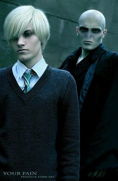 Draco, Lord Voldemort by Your-Pain.deviantart.com Draco Malfoy Costume, Harry Potter Cosplay, Slytherin House, Lord Voldemort, Dramione, Dark Lord, Photo Makeup, Cosplay Costumes, Hogwarts