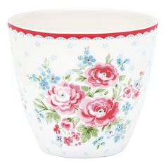 GreenGate Stoneware Latte Cup Tess White H 9 cm