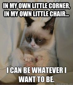 In my own little corner, in my own little chair... I can be whatever I want to be.