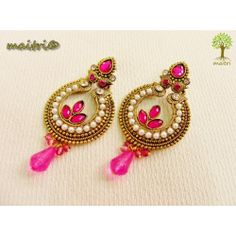 Online Shopping for Antique Earring -   Pink Gold | Earrings | Unique Indian Products by Maitri Crafts .  AME 44 Pink Gold  Length : 7.5 cm, Breadth at the center : 3.5 cm  maitri_crafts@yahoo.com