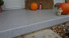 Concrete Resurfacing & Coatings - Dayton Ohio.  Porch looking great with pumpkins!