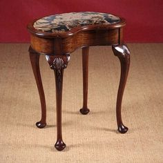 20th.c. Queen Anne Style Walnut Stool c.1920 - Decorative Collective