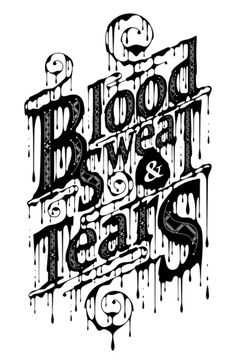 More great typography inspiration | From up North. I love the way the color is dripping from the words. It's as if they were sweating and crying tears of blood. Very dramatic.