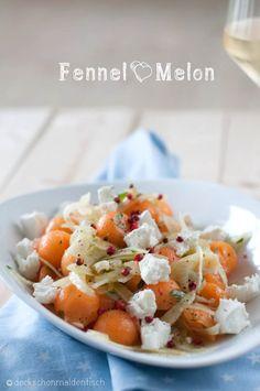 Fenchel-Salat mit Melone, Ziegenkäse und Minze