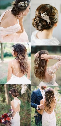 long wedding hairstyles- updos, half up half down
