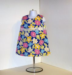 Toddler Dress  Pink Blue Yellow Floral  Sleeveless by KarenHeenan