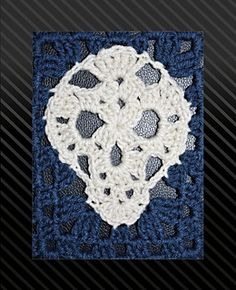 Skull Nouveau lace look skull crochet pattern... You get applique pattern, granny rectangle pattern, & cute flowers & instructions to make a Sugar Skull version too.