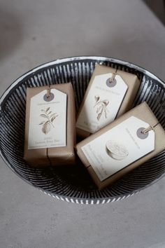 Package your homemade soap in this cute and recycled way. Use paper bags and twine for the wrapping. Cut tag from cereal boxes and cover with paper stamped or printed design. You can buy tags at office supply store.