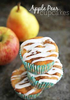 Fresh Apple Pear Cupcakes  http://lecremedelacrumb.com/2013/10/fresh-apple-pear-cupcakes.html