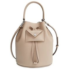MARC BY MARC JACOBS 'Metropoli' Leather Bucket Bag (£96) ❤ liked on Polyvore featuring bags, handbags, shoulder bags, taupe grey, grey leather shoulder bag, bucket bag, gray shoulder bag, leather purse and taupe leather handbag