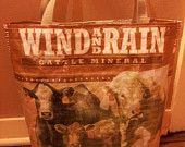 "Up-cycled farm animal feed sacks, these totes are very durable and quite trendy especially with the ""Eat Fresh, Eat Local"" crowd. Perfect for taking to your local Farmers Market or to the grocery store. FeedbagtotesDOTcom"