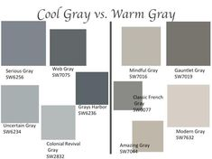 Cool Grey Color Grays Grey Color Palette Names Great Room Paint Warm Grey Colors – Midouza Interior Paint Colors For Living Room, Exterior Paint Colors For House, Paint Colors For Home, Interior Painting, Room Interior, Diy Exterior House Painting Stucco, Gray Living Room Walls, Living Rooms, Gray Interior