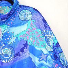 56f22932a80b Lavon Windbreaker Jacket Size XL Pastel Nautilus Ocean Beach Island 90s