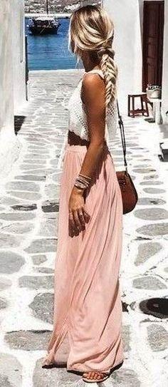summer outfits  White Crochet Top + Blush Maxi Skirt