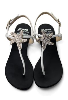 Crystal Starfish Flat Sandals in White