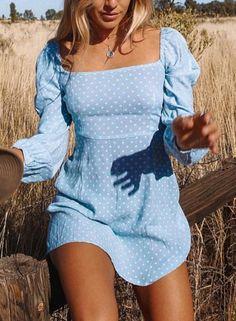 Blue Polka Dot Square Neck Long Sleeve Slim Beach Mini Dress novashe.com
