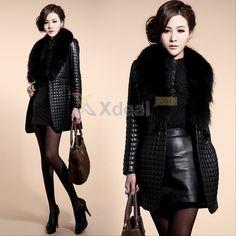 Long Women Lady Winter Faux Leather Fur Luxury Jacket Warm Coat Outwear Parka