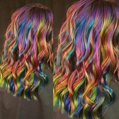 "1,180 Likes, 16 Comments - Ursula Goff (uggoff montana) on Instagram: ""Ok just one more pic of Nikki's hair... #rainbowhair #mermaidhair #rusk #joico #pravana #manicpanic…"""