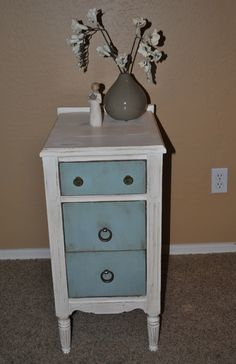 White and Duck Egg Blue - homemade chalk paint.
