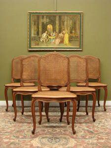 SET 6 Vintage French Louis XV Style OAK AND Cane Dining Chairs Very Elegant   eBay