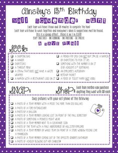 Mall Scavenger Hunt List By SimplyMELvelous On Etsy 13 BirthdayTeen Birthday PartiesTeen