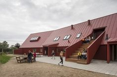 The goal of Youth Center Roskilde is to create a flexible , varied daily life space for children and adults. The Roskilde-based architect Cornelius + Vöge Facade Architecture, School Architecture, Open Stairs, Youth Center, Exterior, Building Structure, School Design, Denmark, Centre