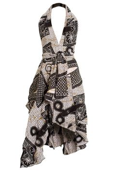 - Funky African cotton print design - Versatile print dress (can be worn in various ways as pictured) - Wear as a halterneck dress, asymmetric dress or a wrap skirt! - Handmade using African cotton print fabric. Please note, fabric may differ from that pictured - Machine wash with similar colours  Sizes available: Size A: Fits UK Sizes 8 - 14 (USA Sizes 4 - 10) Size B: Fits UK Sizes 16 - 18 (USA Sizes 12 - 14) #AfricanPrints #kente #ankara #AfricanStyle #AfricanInspired