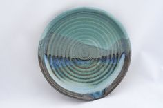 Stoneware pottery spoon rest, green, black, blue, and turquoise glaze, mountain landscape pattern - pinned by pin4etsy.com
